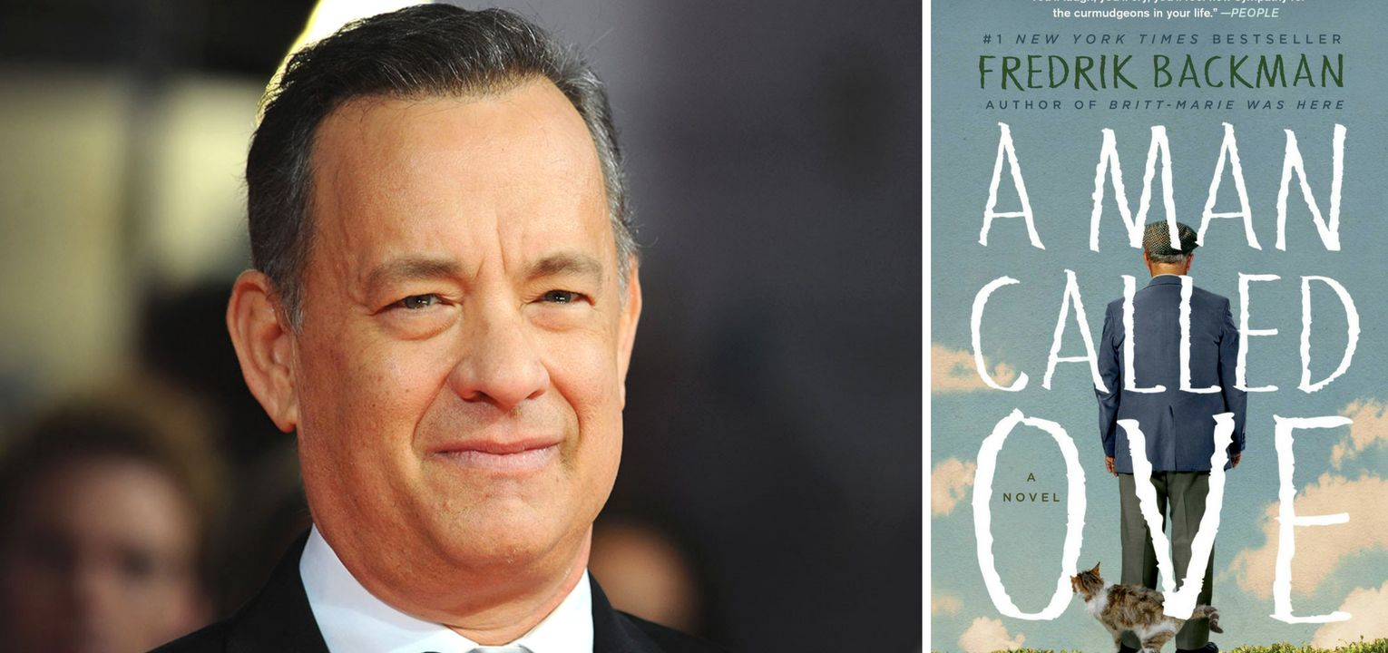 "a picture of tom hanks and the cover of ""a man called ove"""