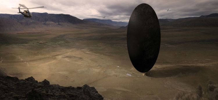 semicircular alien spaceship from the movie 'arrival'