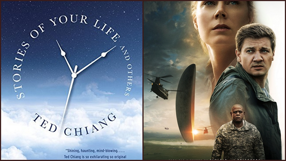 a collage of the book cover of story of your life and poster of the movie arrival
