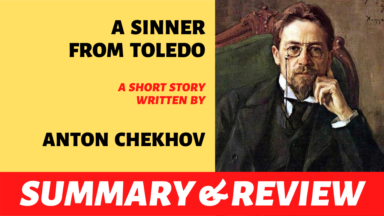 """the words """"a sinner from toledo"""" written next to the portrait of anton chekhov"""